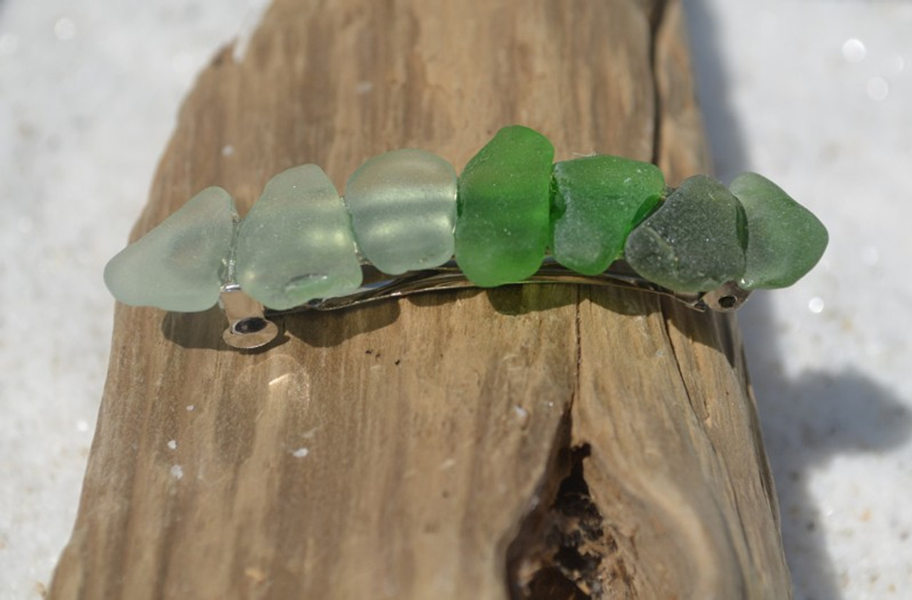 Shades of Green Sea Glass French Barrette - 60 mm-1