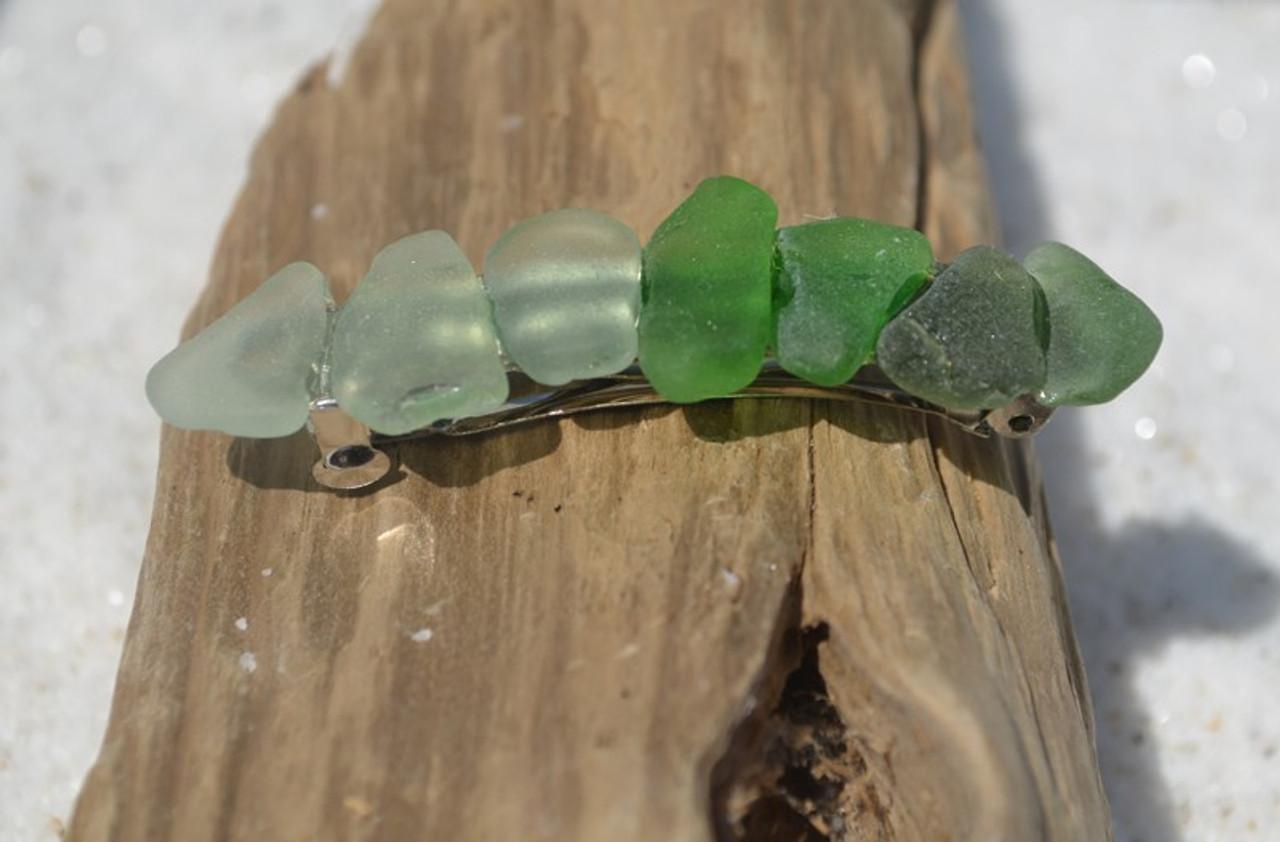 Shades of Green Sea Glass Barrette