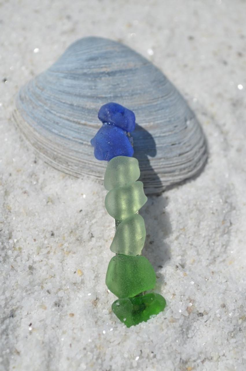 Shades of Genuine Blue, Green, Sea Foam and Aqua Sea Glass French Barrette Hair Clip - 60 mm