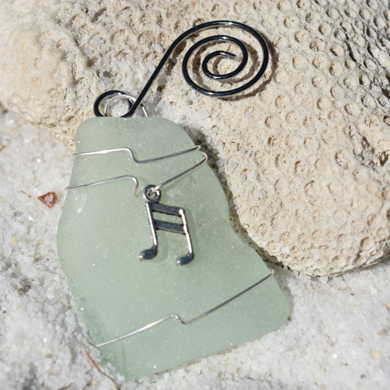Musical Note Charm on a Surf Tumbled Sea Glass Ornament - Choose Your Color Sea Glass Frosted, Green, and Brown. - Made to Order
