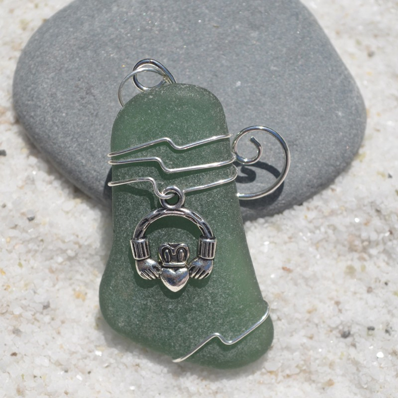 Claddagh Charm on a Custom Surf Tumbled Sea Glass Ornament - Choose Your Color Sea Glass Frosted, Olive Green, and Brown.-1