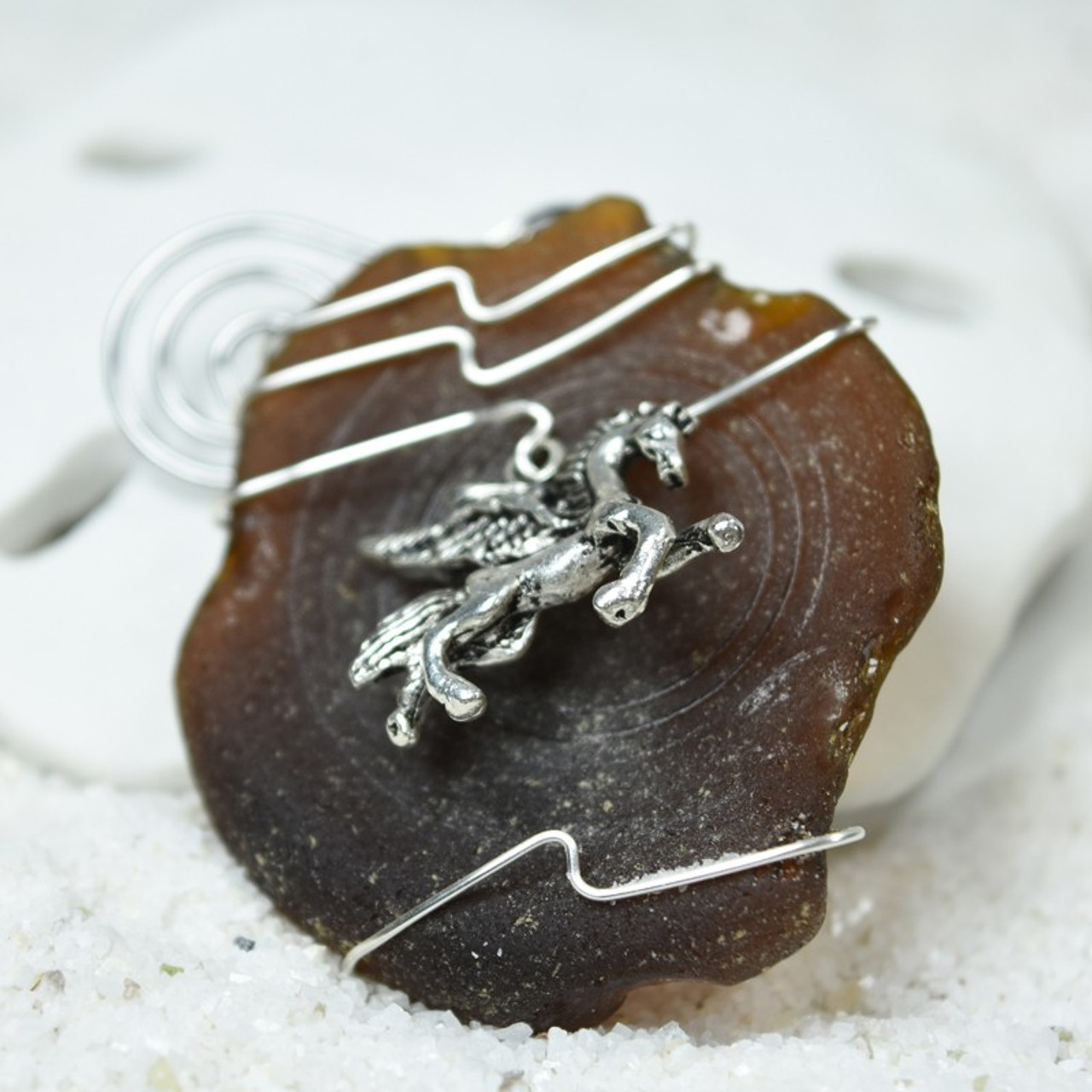 Pegasus Charm on a Custom Surf Tumbled Sea Glass Ornament - Choose Your Color Sea Glass Frosted, Olive Green, and Brown.