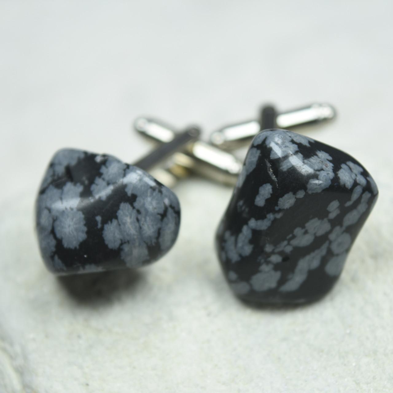 Snowflake Obsidian Cufflinks