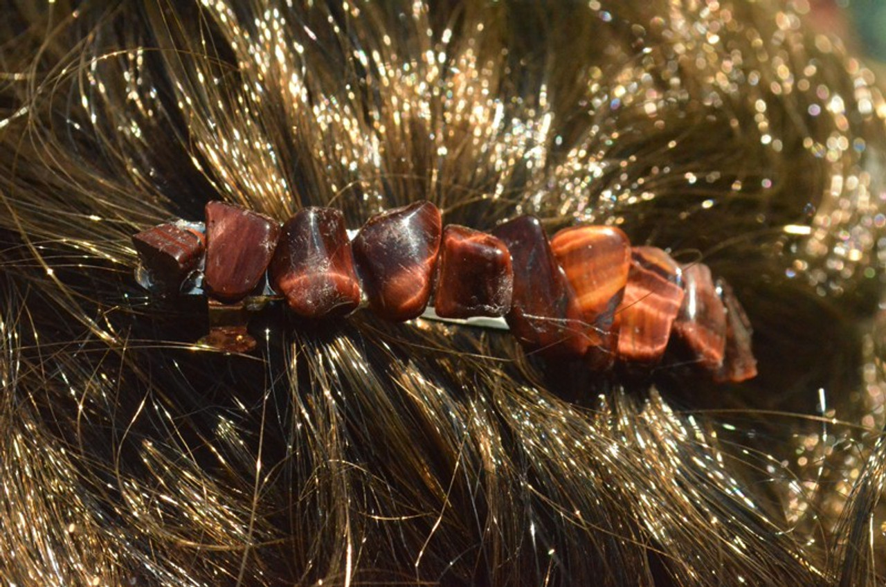 Red Tiger's Eye Stone French Barrette