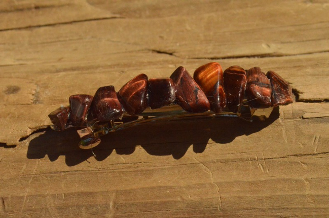Red Tiger's Eye Stone French Barrette Hair Clip - 60 MM - Made to Order