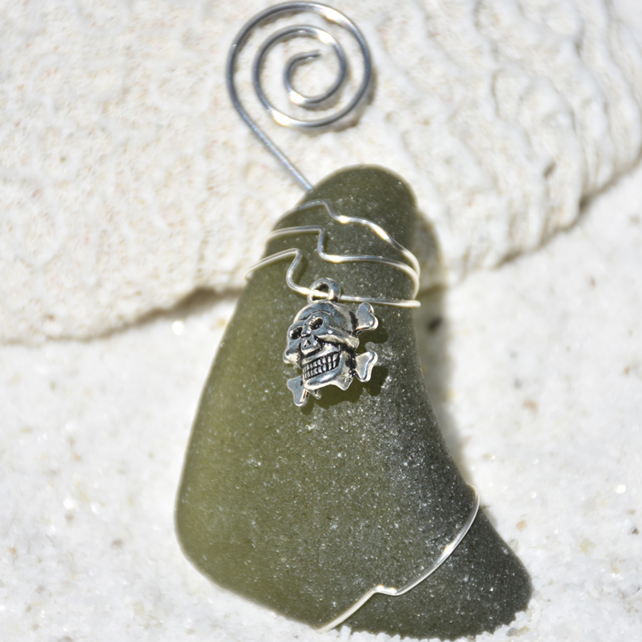 Skull and Cross Bones Charm on a Surf Tumbled Sea Glass Ornament - Choose Your Color Sea Glass Frosted, Green, and Brown - Made to Order