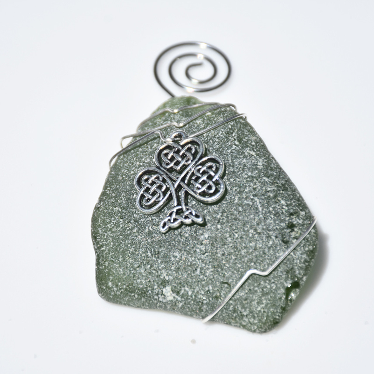 Celtic Knot Shamrock Charm on a Surf Tumbled Sea Glass Ornament Perfect for St Patrick's Day - Choose Your Color Sea Glass Frosted, Green, and Brown - Made to Order