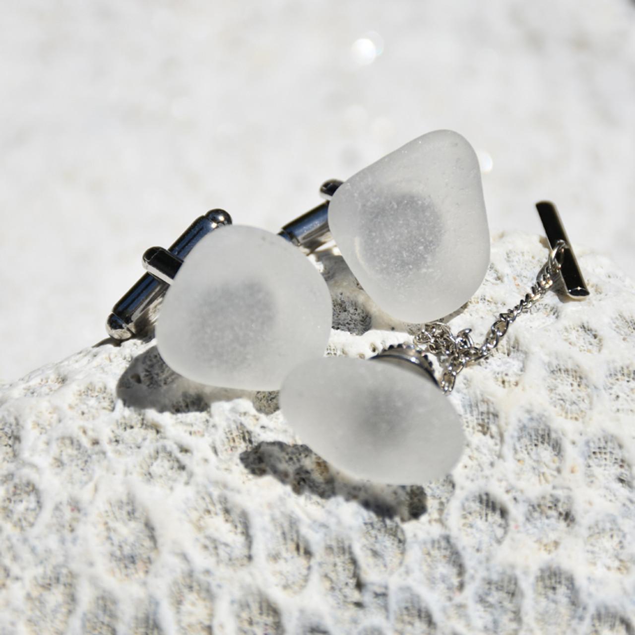 White Sea Glass Men's Jewelry Set