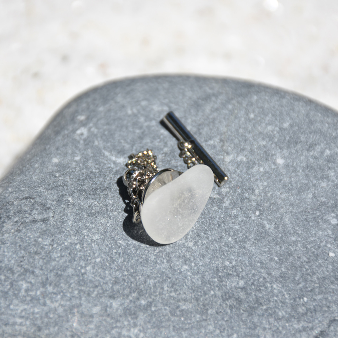 Frosted Sea Glass Tie Tack