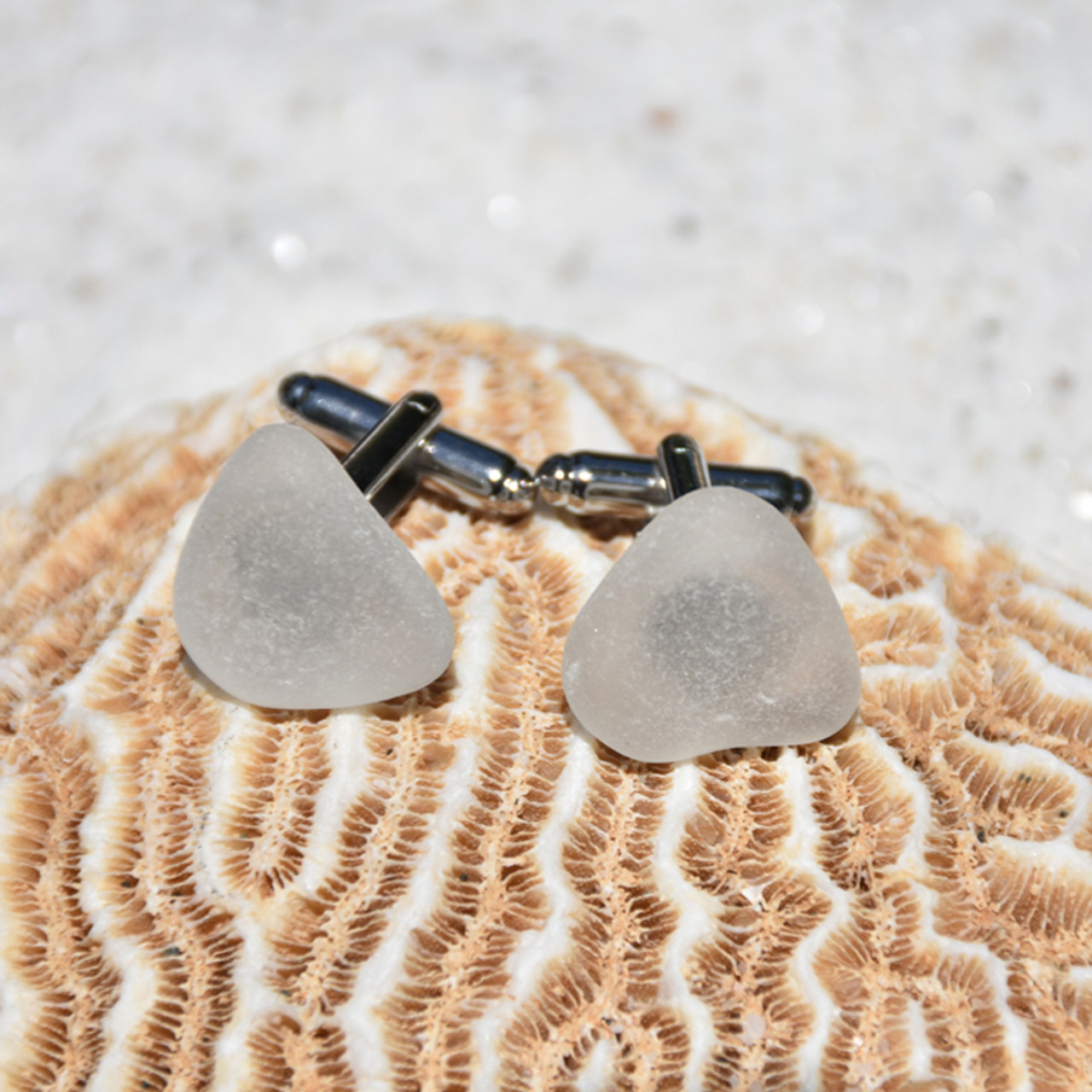 Frosted Sea Glass Cufflinks