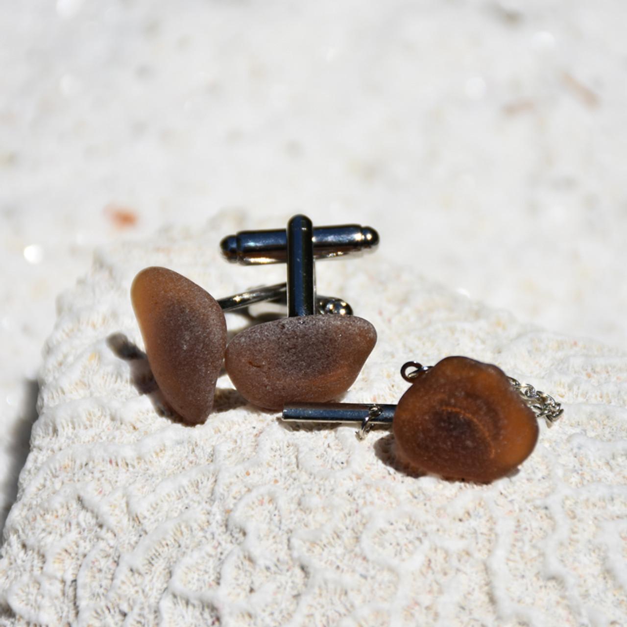 Brown Sea Glass Men's Jewelry Set