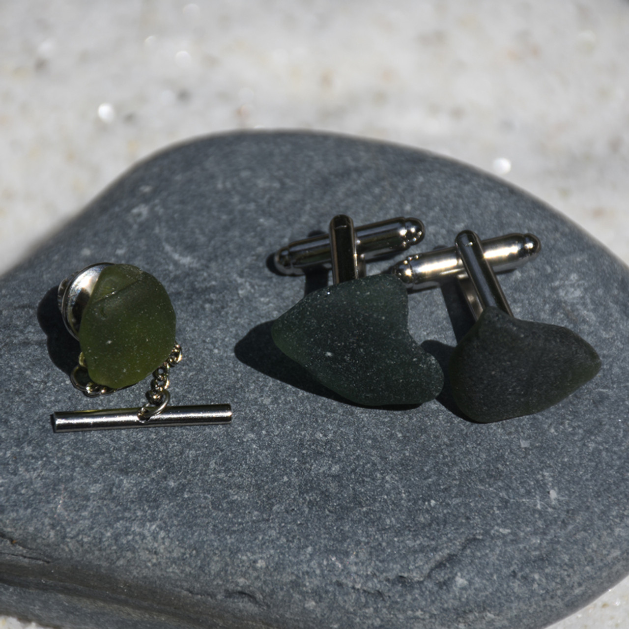 Olive Green Cufflinks and Tie Tack