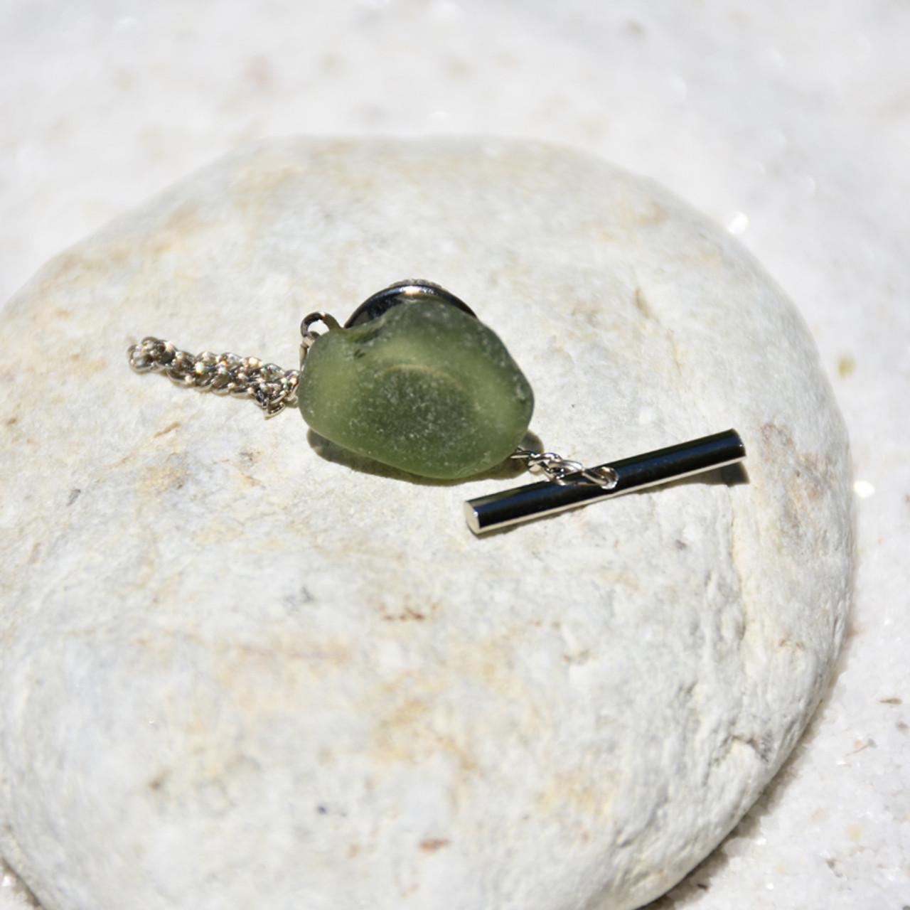 Olive Green Sea Glass Tie Tack