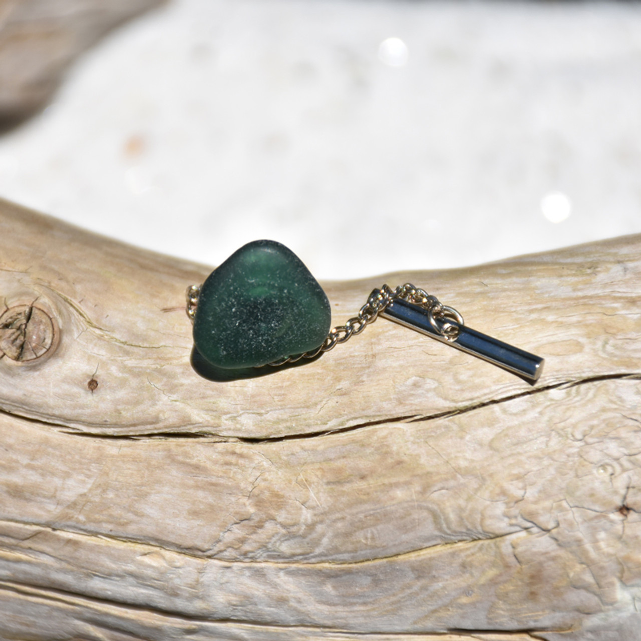 Olive Green Sea Glass Tie Tack