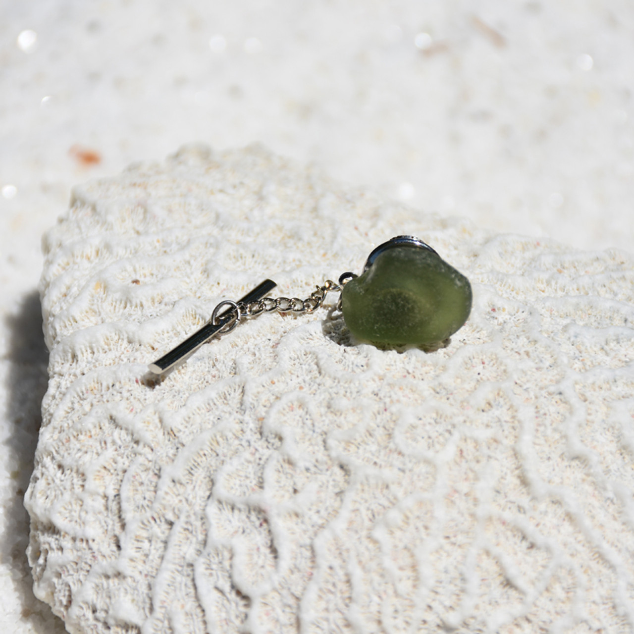 Surf Tumbled Olive Green Tie Tack