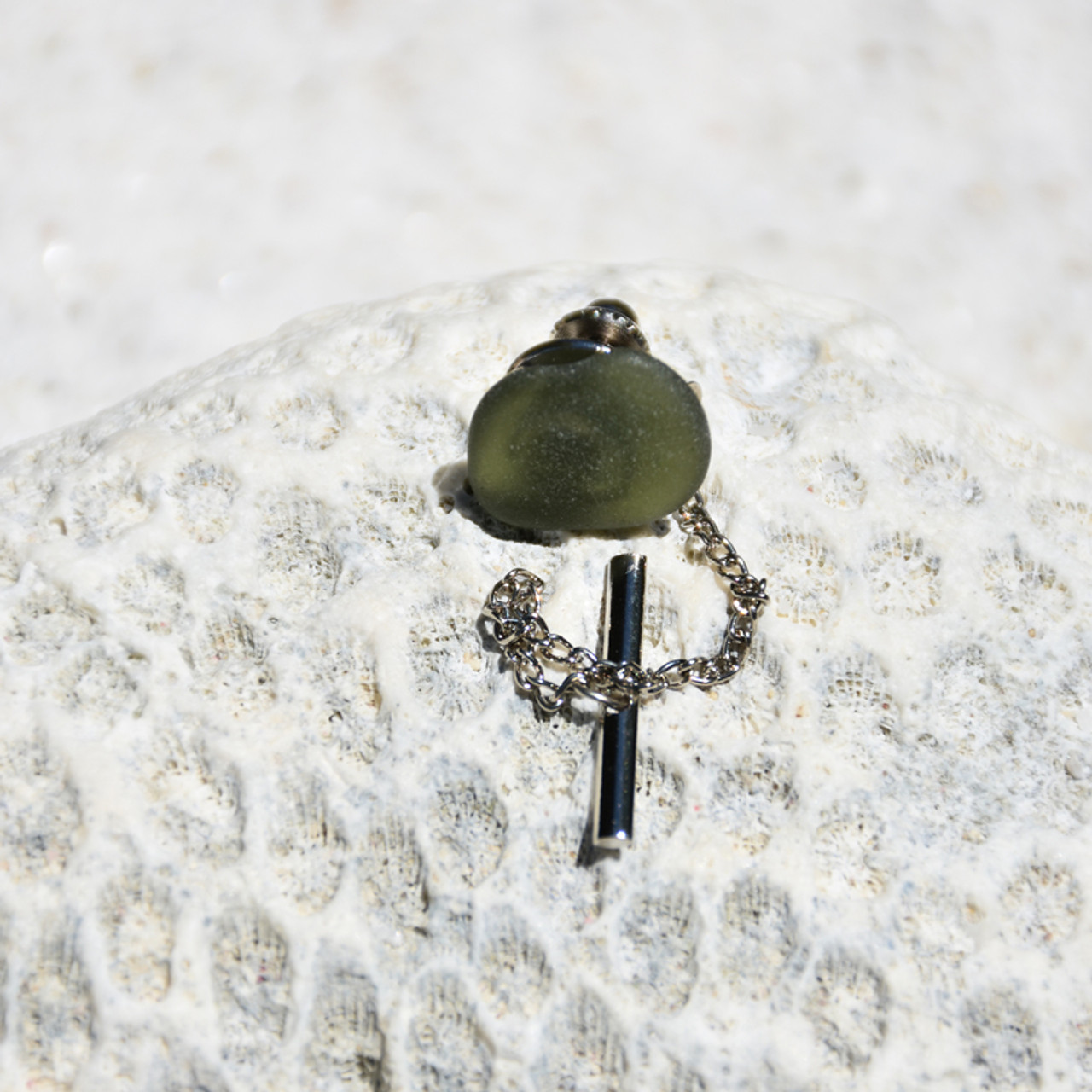 Surf Tumbled Olive Green Sea Glass Tie Tack