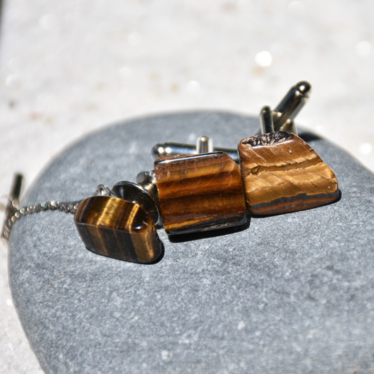 Tumbled Gold Tiger's Eye Cufflinks and Tie Tack