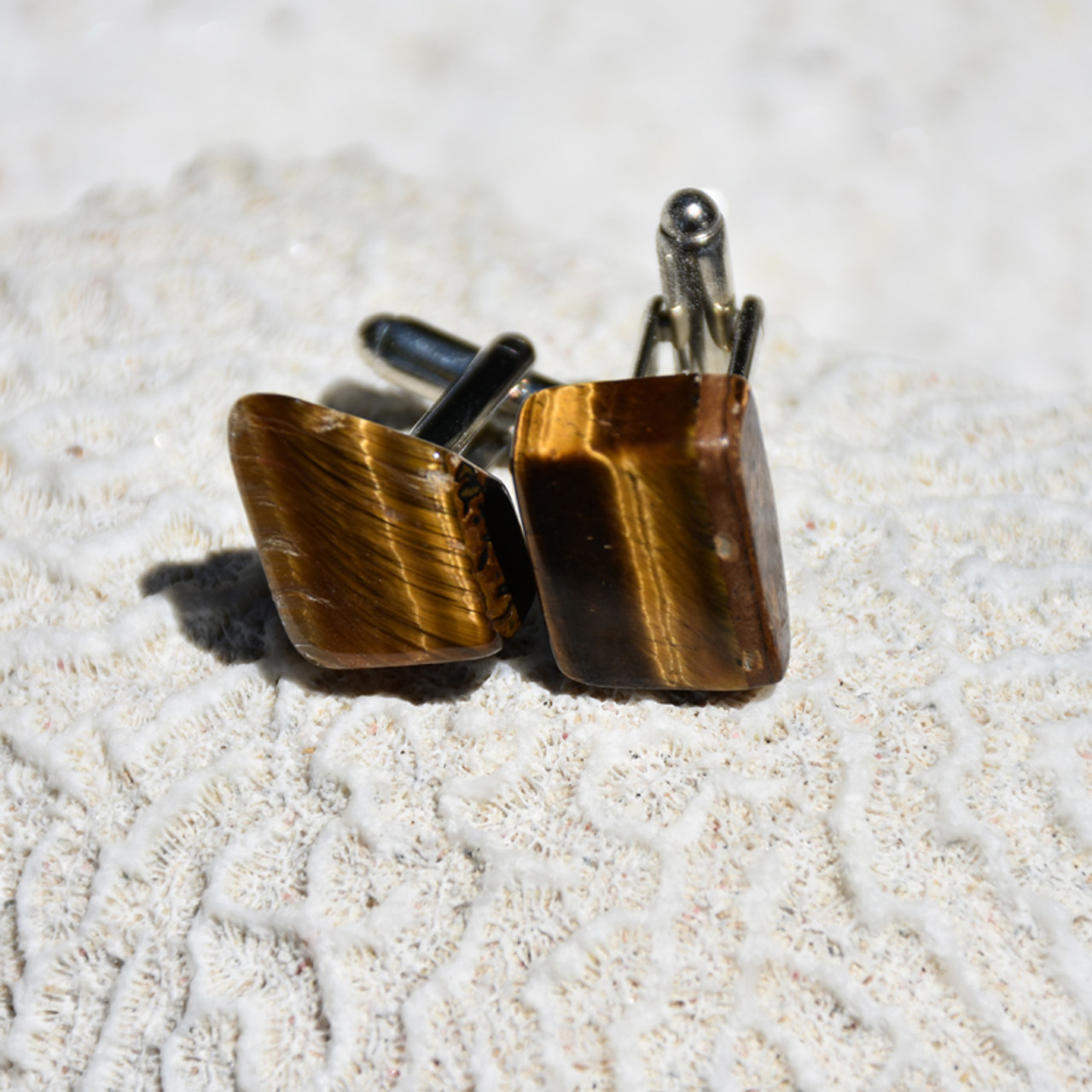 Gold Tiger's Eye Stone Cufflinks