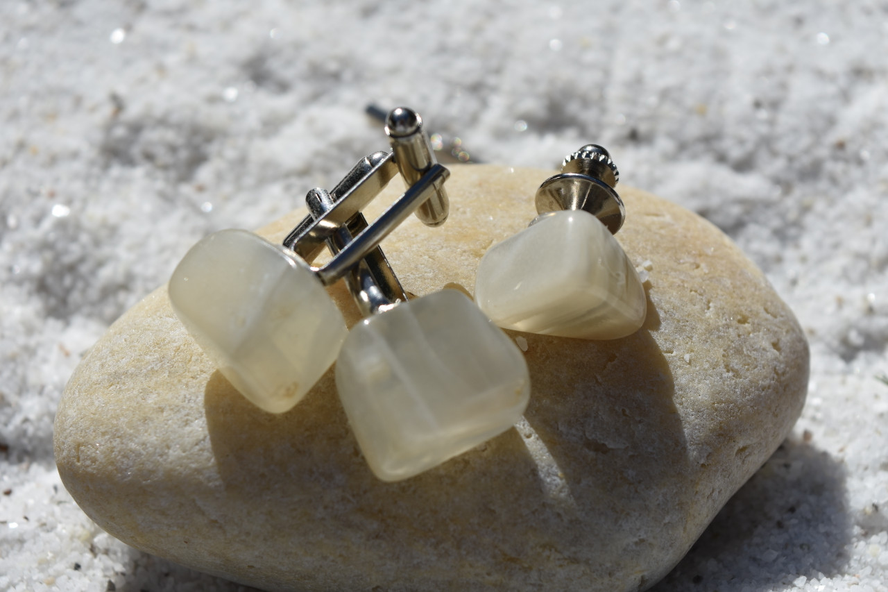 Moonstone Cufflinks and Tie Clip