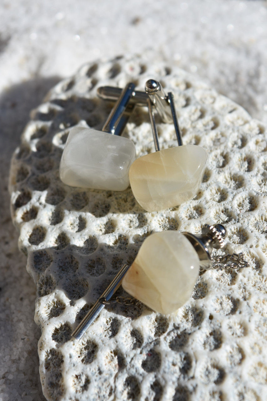 Tumbled Moonstone Cufflinks and Tie Tack