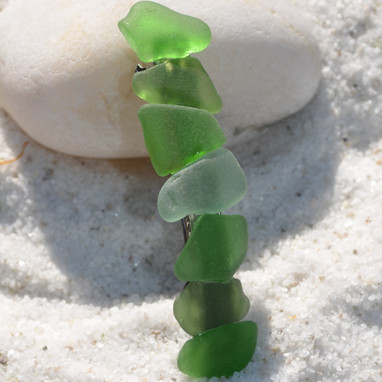 Sea Glass in Shades of Green Hair Clip