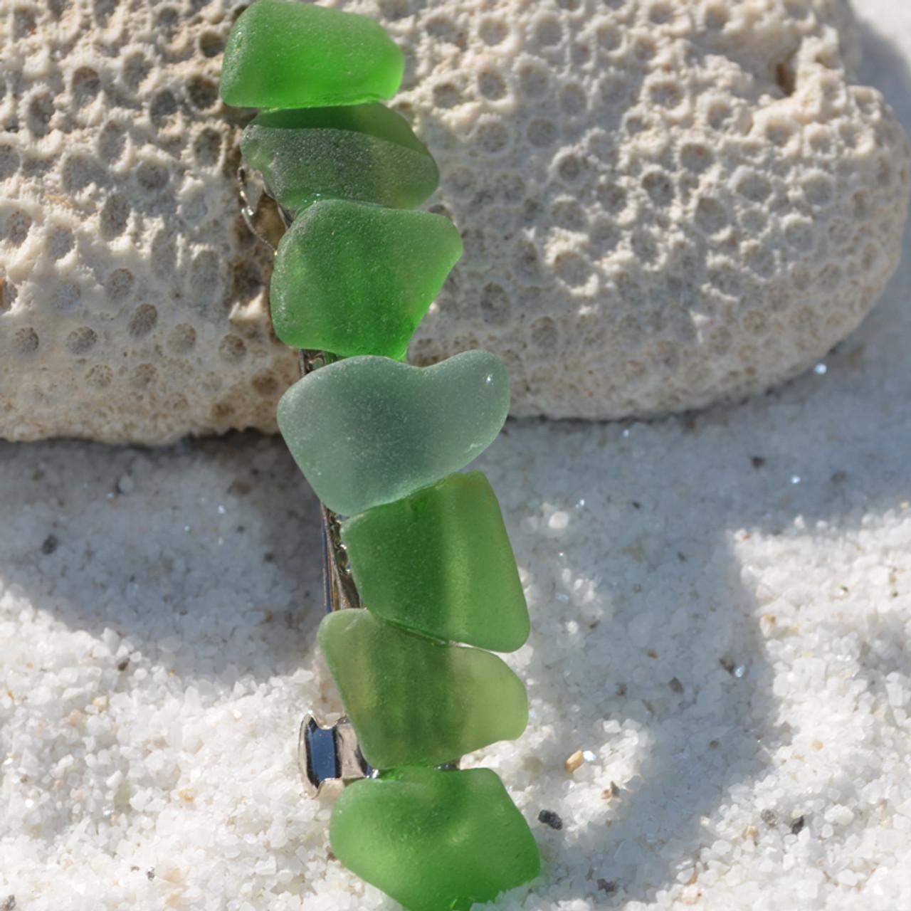 Shades of Green Sea Glass Hair Clip