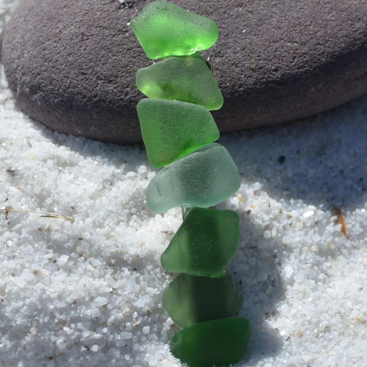 Hair Clip in Shades of Green Sea Glass French Barrette - 60 mm - Made to order