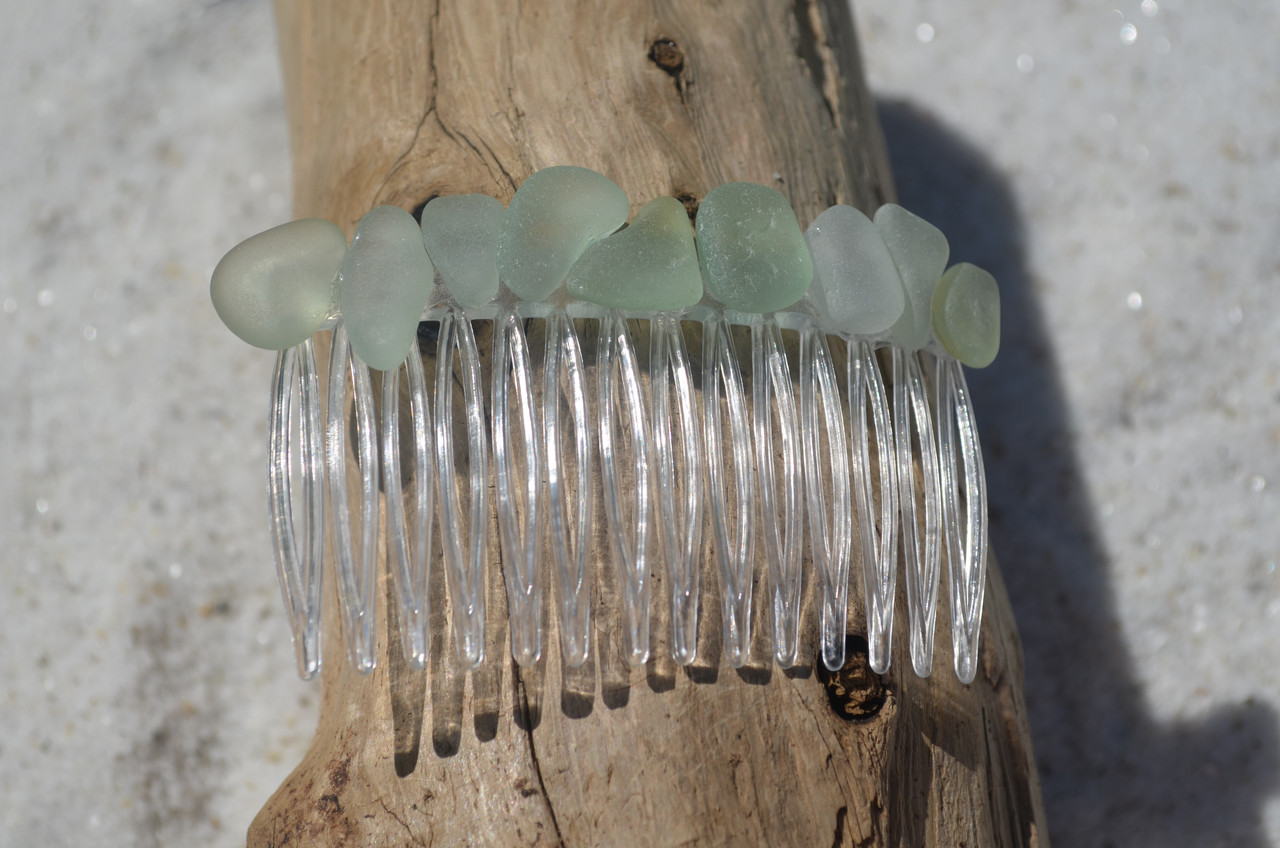 Sea Foam Sea Glass Hair Comb