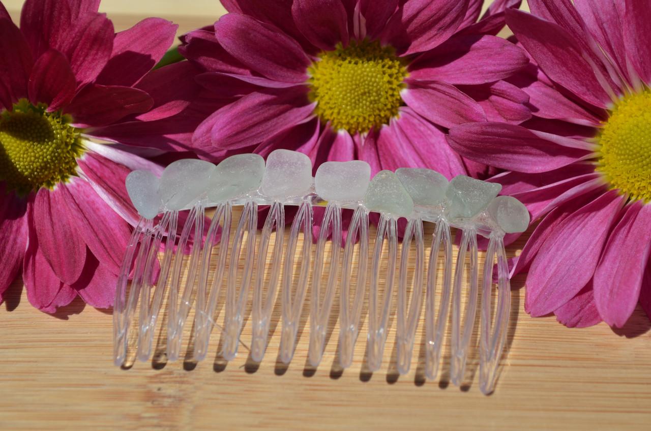Surf Tumbled Aqua Sea Glass Hair Comb