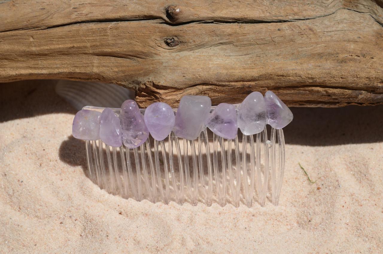 Lilac Amethyst Stone Hair Comb