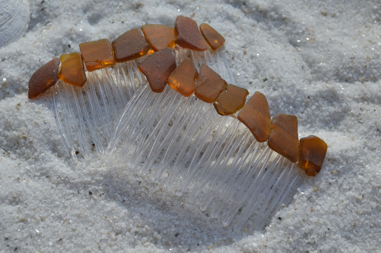 Amber Brown Beach Glass Hair Combs