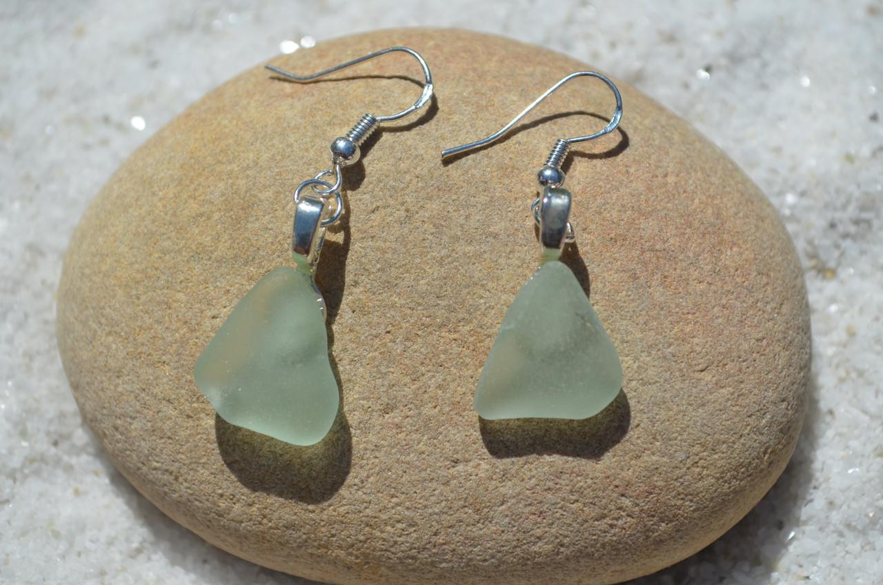 Dangling Sea Foam Sea Glass Earrings