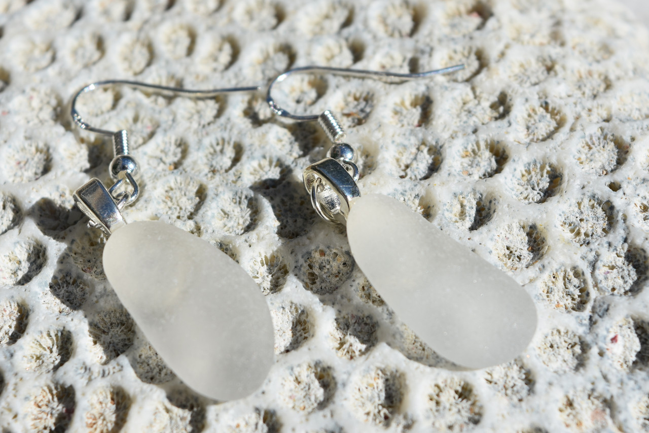 Dangling White Beach Glass Earrings