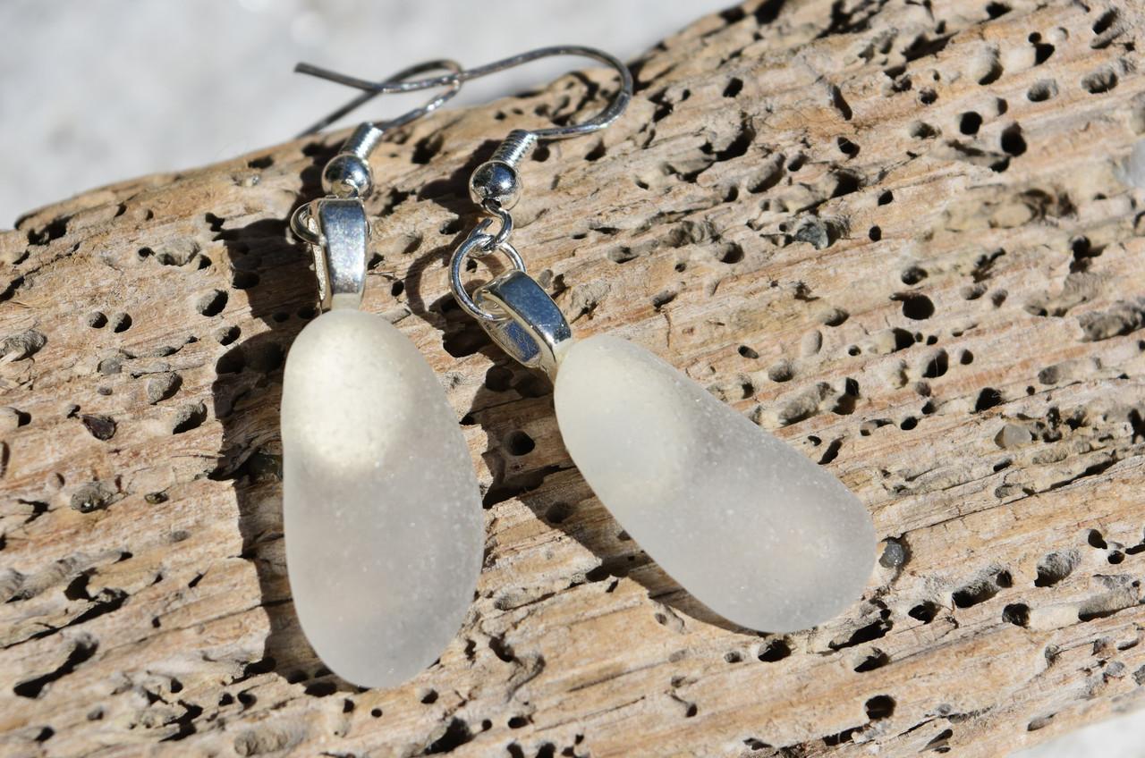 Dangling Frosted Sea Glass Earrings
