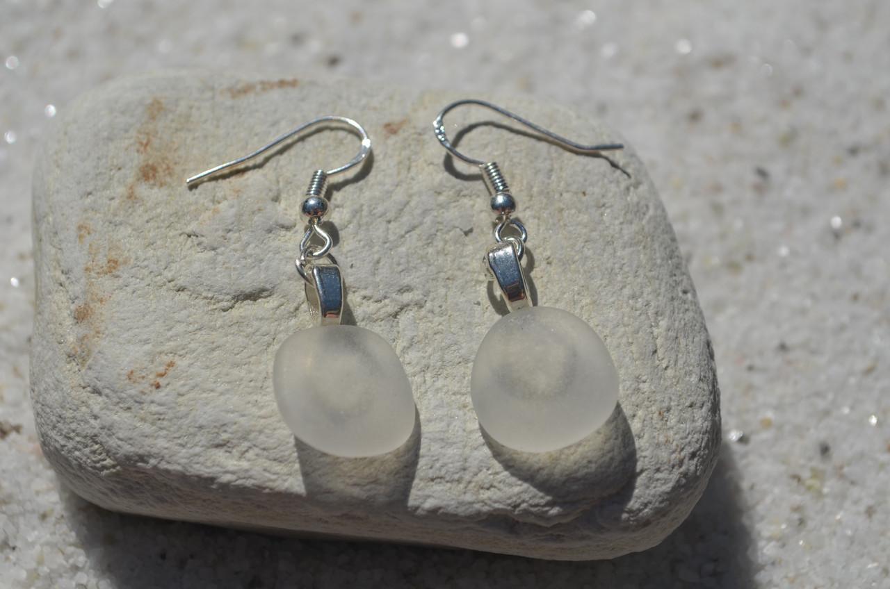 Frosted Sea Glass Earrings