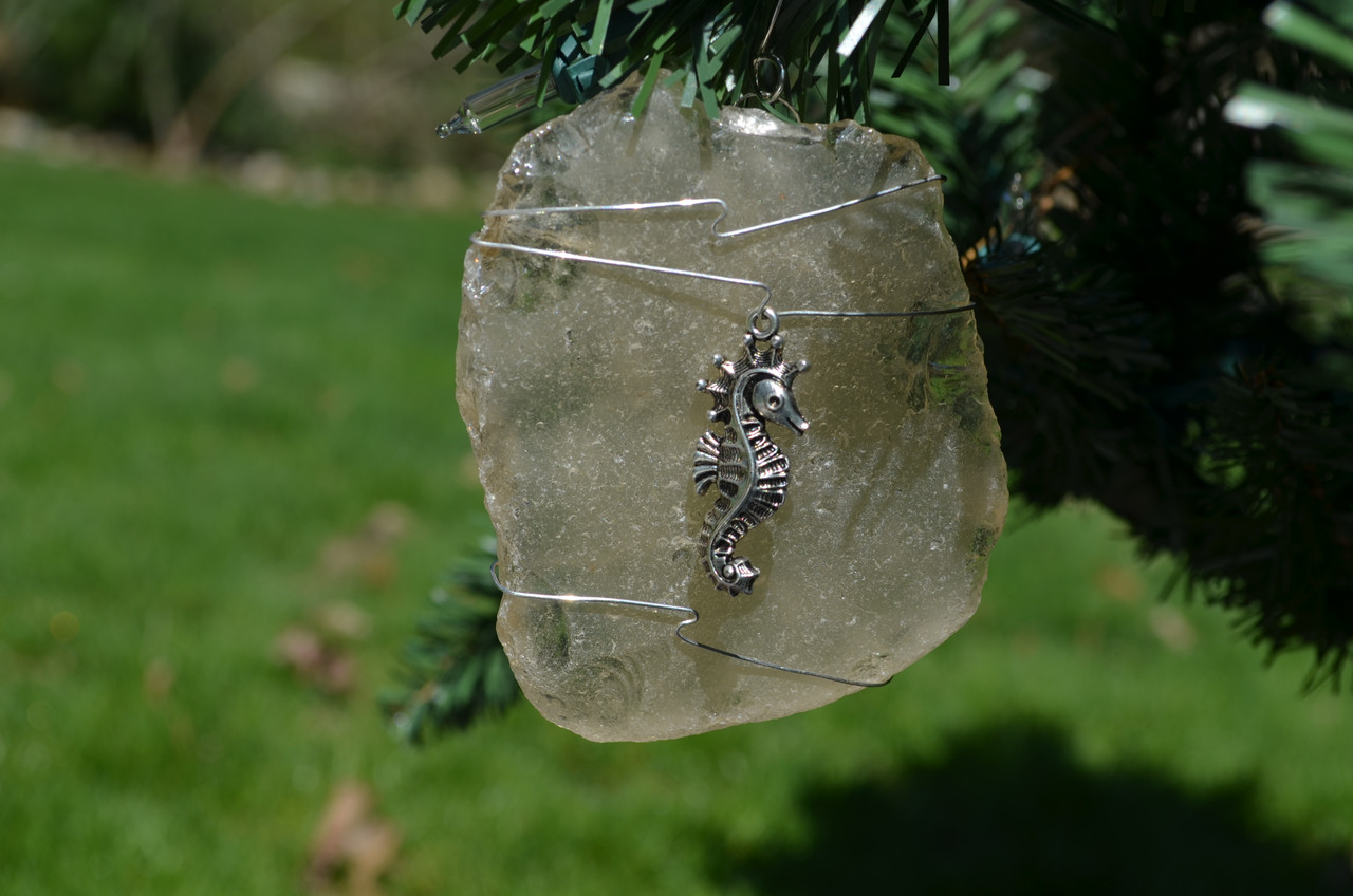 Sea Horse Beach Glass Ornament