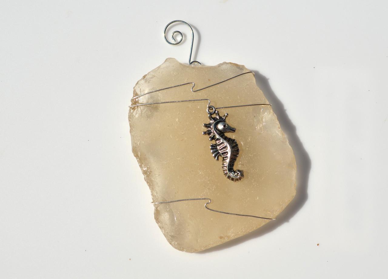 Sea Horse Beach Glass Ornament
