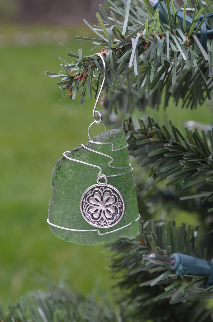 Shamrock Medalion Surf Tumbled Sea Glass Ornament