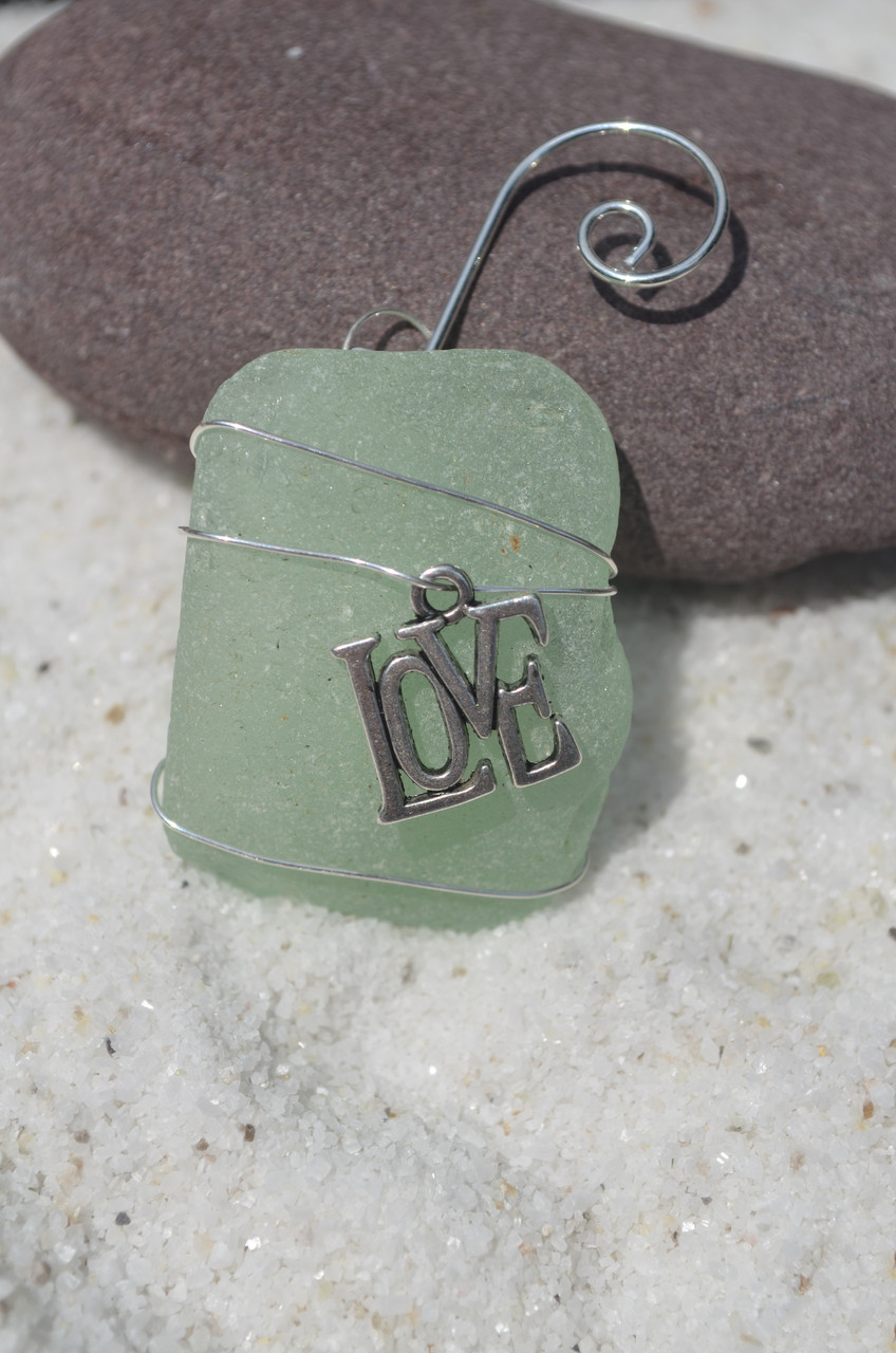 LOVE Beach Glass Ornament