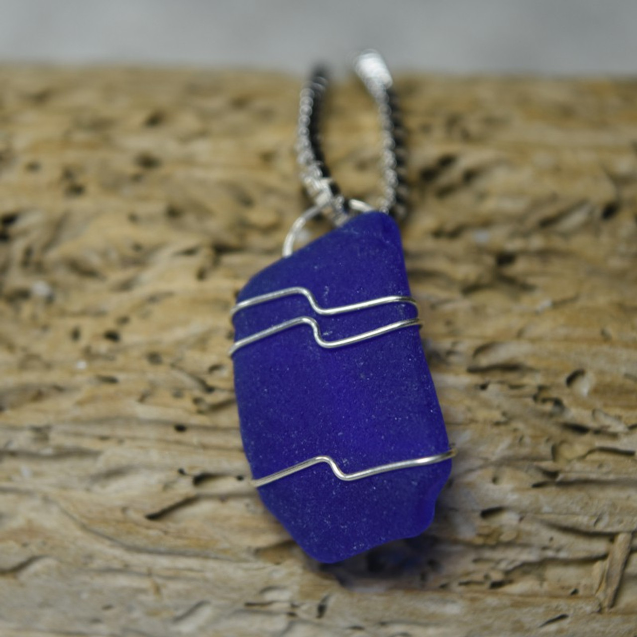 Blue Sea Glass Pendant and Necklace