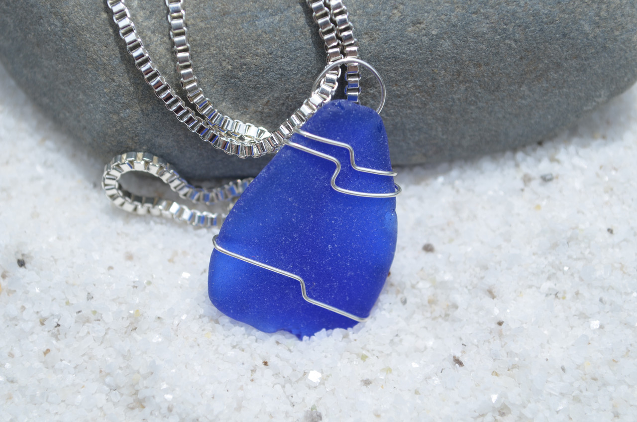 Surf Tumbled Blue Sea Glass Necklace