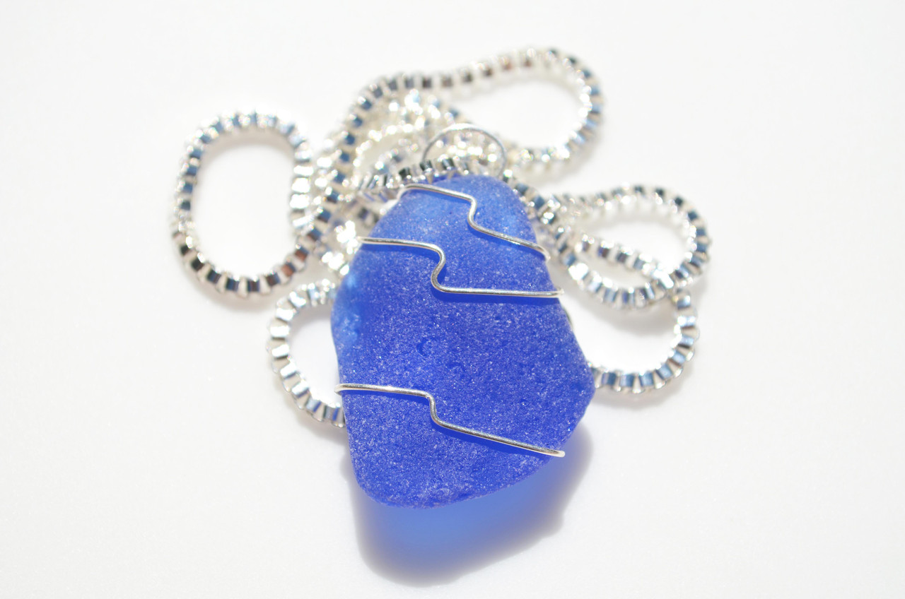 Surf Tumbled Cobalt Blue Sea Glass Wire Wrapped Pendant and Necklace - Choose Sterling Silver Chain or Leather Cord - Made to Order
