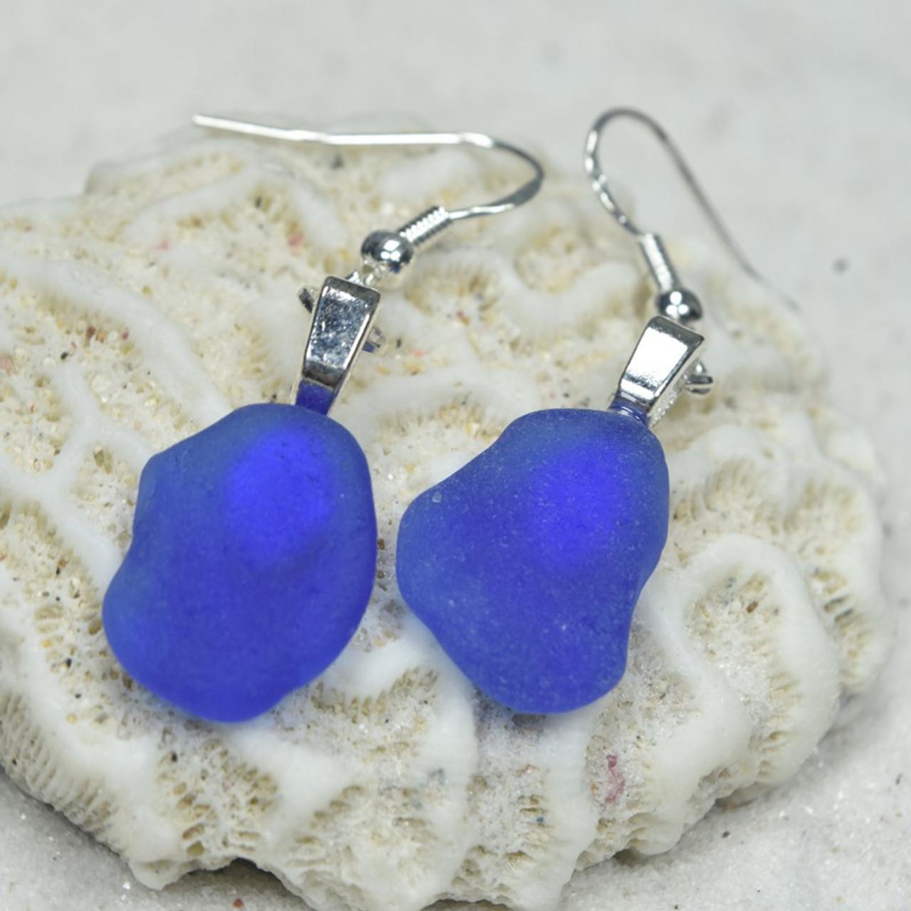 Dangling Cobalt Blue Sea Glass Earrings