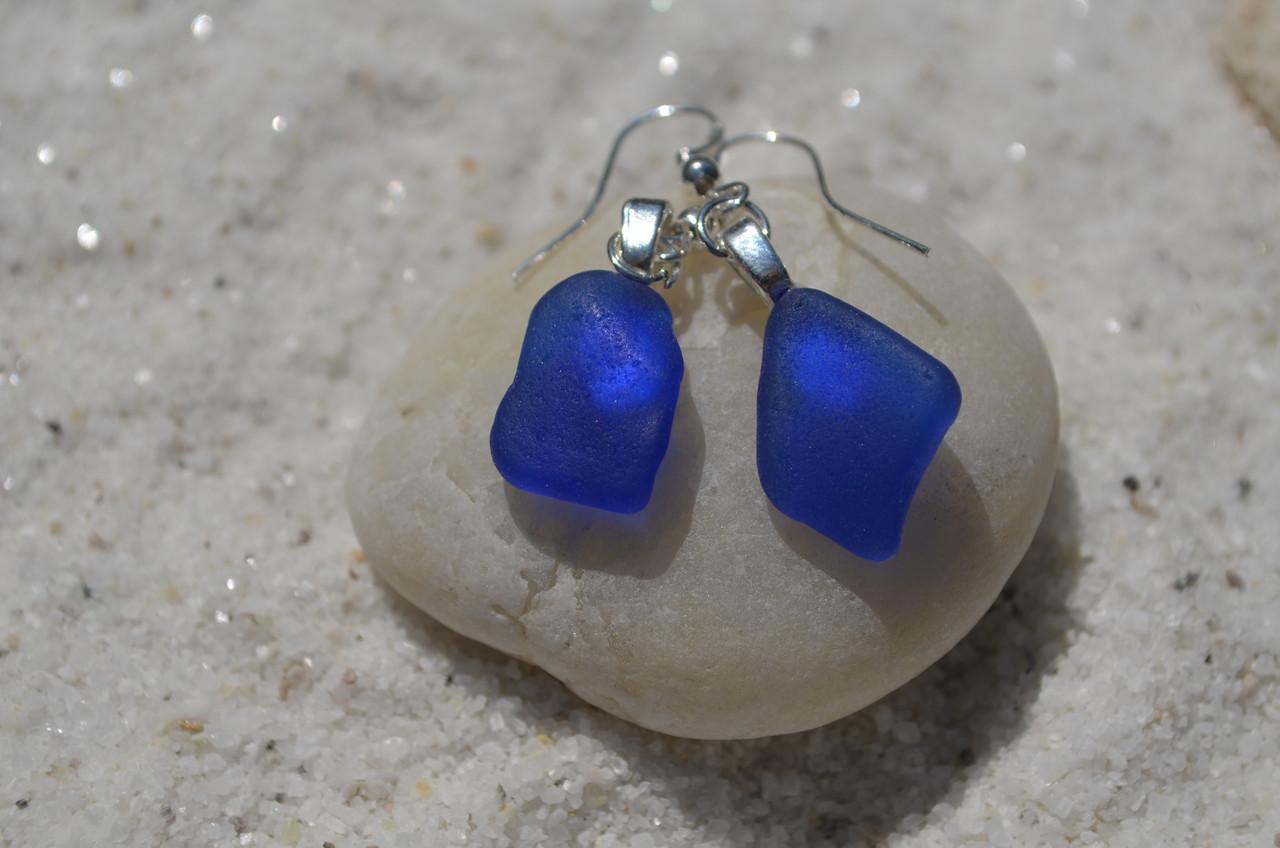 Pretty Blue Sea Glass Earrings