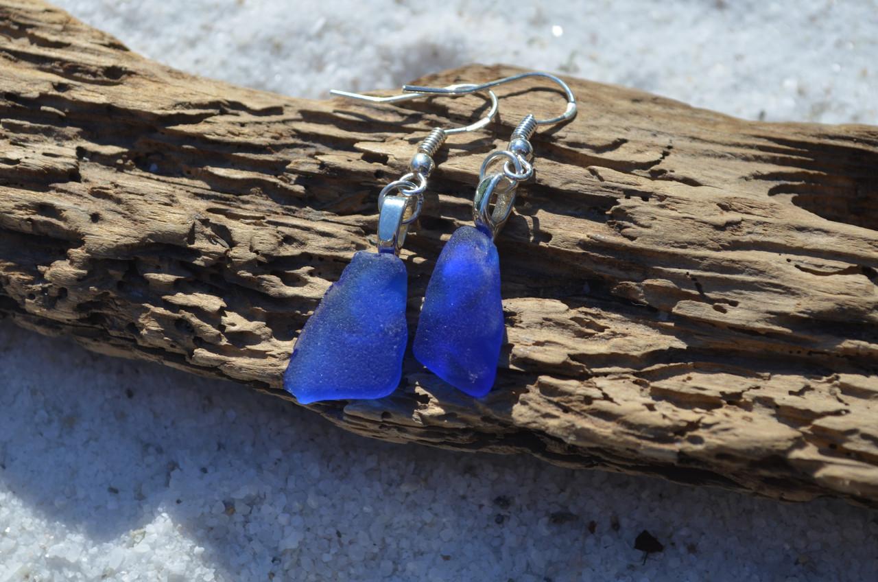 Blue Surf Tumbled Earrings