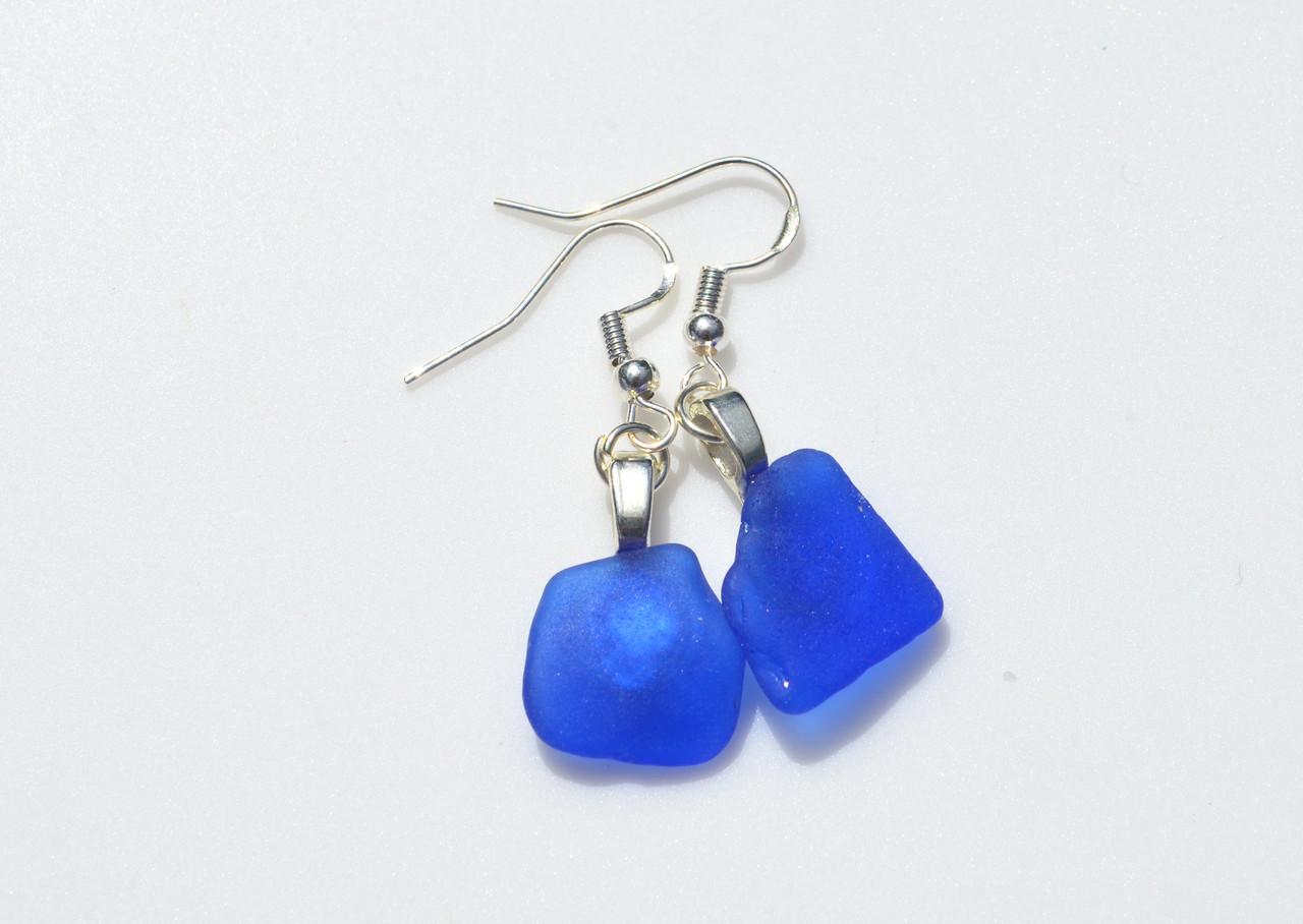 Pretty Blue Surf Tumbled Earrings