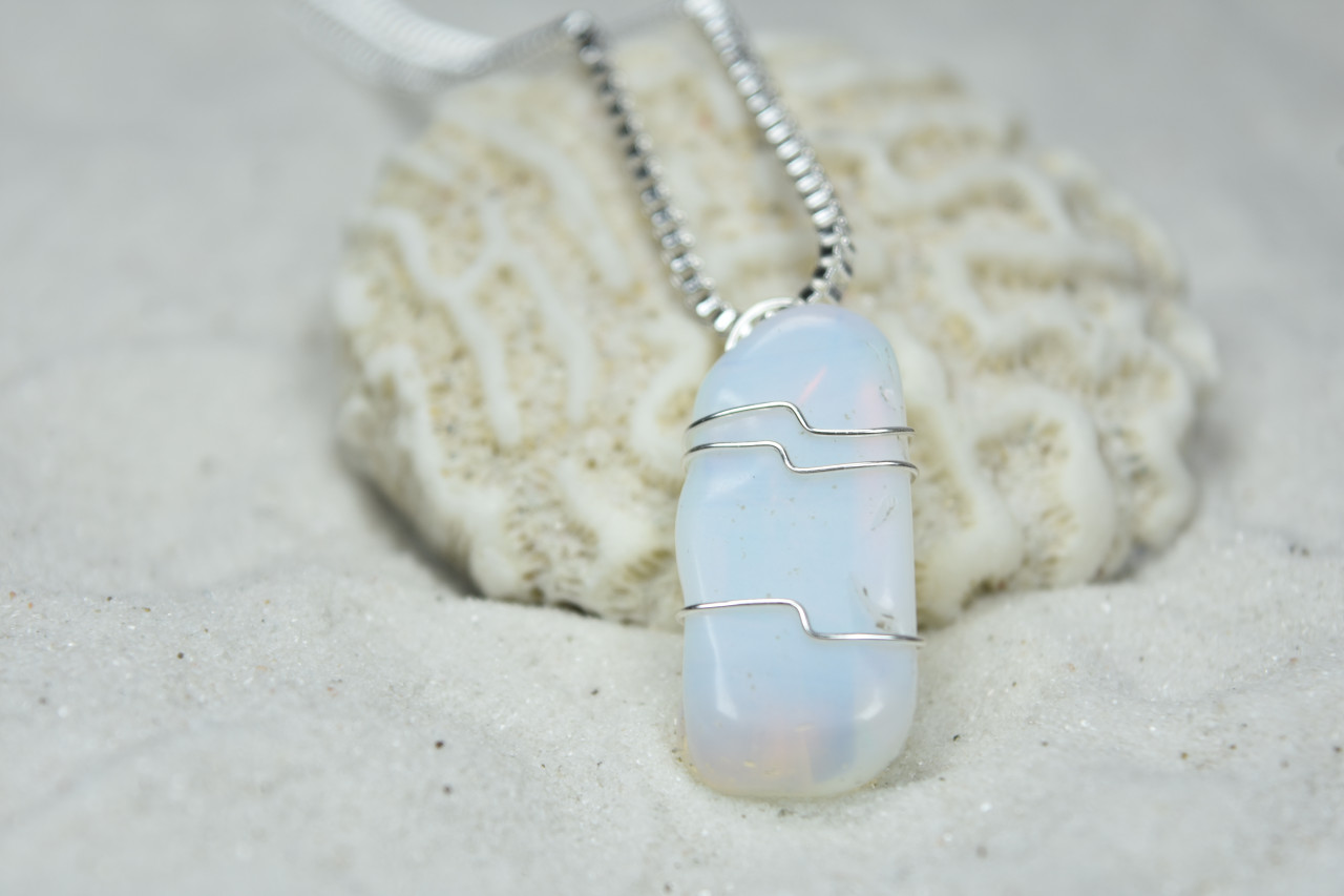 Opalite Stone Pendant and Necklace