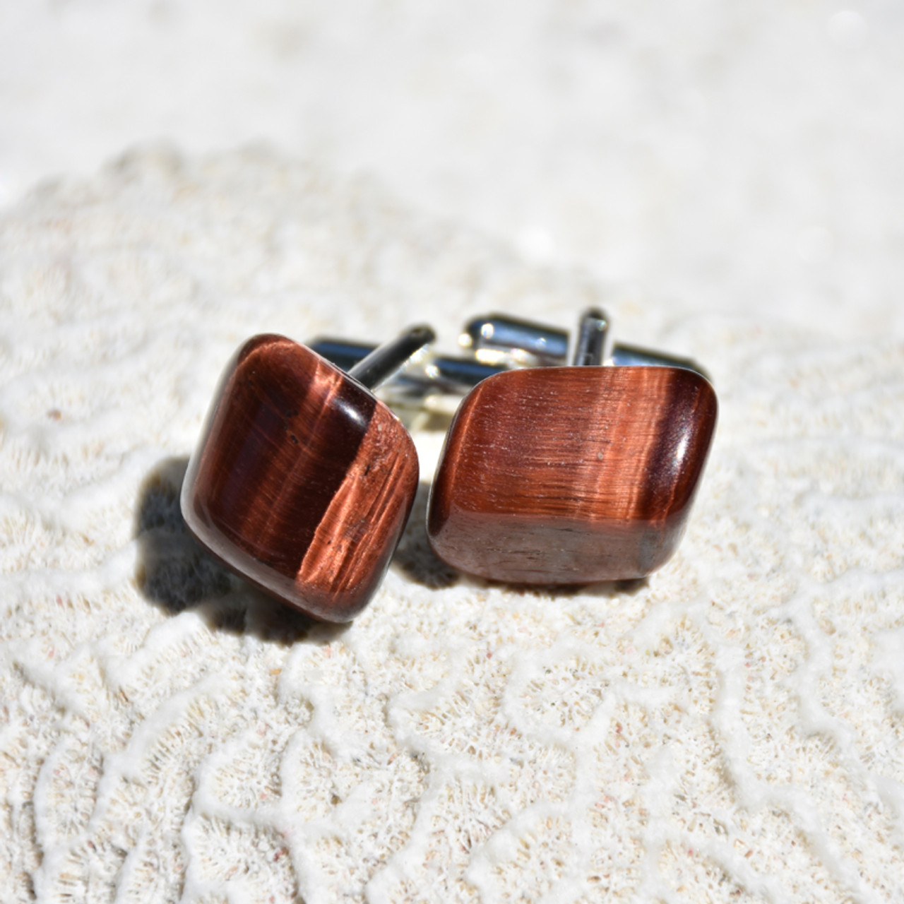 Red Tiger's Eye Stone Cufflinks