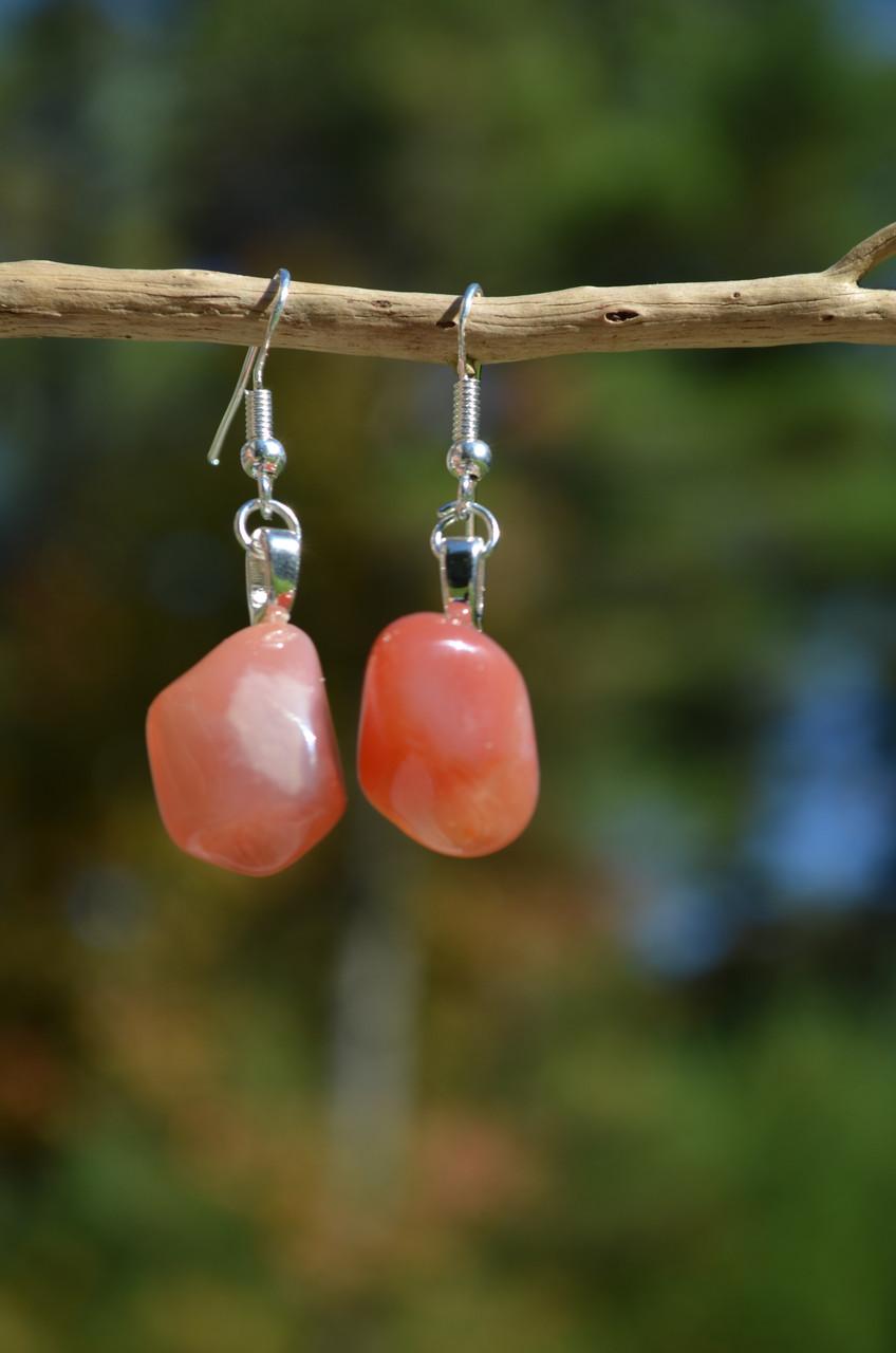 Tumbled Apricot Agate Stone Earrings