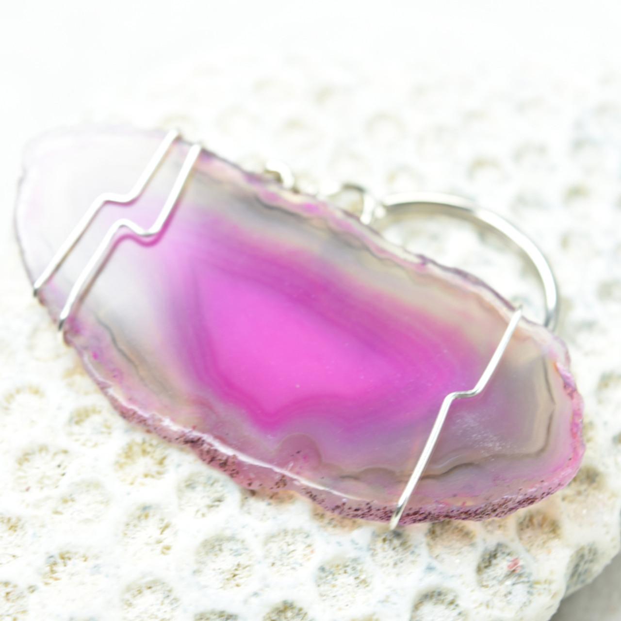 Pink Agate Slice Key Ring
